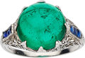 Estate Jewelry:Rings, Emerald, Synthetic Sapphire, Platinum Ring. ...