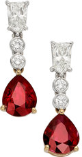 Estate Jewelry:Earrings, Burma Ruby, Diamond, Platinum, Gold Earrings. ...