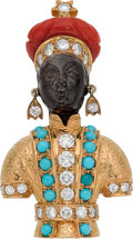 Estate Jewelry:Brooches - Pins, Multi-Stone, Diamond, Gold Brooch, Nardi. ...