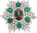 Estate Jewelry:Brooches - Pins, Opal, Diamond, Emerald, Gold Brooch. ...