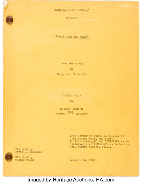A Script From Gone With The Wind Movietv Memorabilia Lot