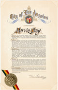 Music Memorabilia:Awards, Marvin Gaye Citation from the City of Los Angeles (1982)....