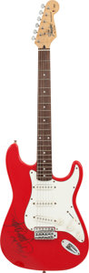 Musical Instruments:Electric Guitars, Jimmie Vaughan Signed Fender Squier Stratocaster Guitar....