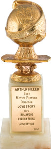 "Movie/TV Memorabilia:Awards, An Arthur Hiller Golden Globe Award from ""Love Story.""..."