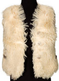 Music Memorabilia:Costumes, Sonny Bono TV-Worn Fur Vest Signed by Sonny & Cher (CircaEarly-1970s)....