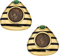 Estate Jewelry:Earrings, Tsavorite Garnet, Ancient Coin, Enamel, Gold Earrings, ElizabethGage, English. ...
