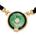 Estate Jewelry:Necklaces, Jadeite Jade, Diamond, Black Onyx, Gold Necklace . ...