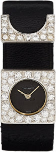 Estate Jewelry:Watches, Swiss Diamond, White Gold Watch, retailed by Tiffany & Co.. ...
