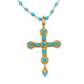 Estate Jewelry:Necklaces, Turquoise, Gold Pendant-Necklace, Cynthia Bach. ...