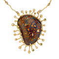 Estate Jewelry:Necklaces, Koroit Opal, Diamond, Garnet, Gold Necklace, Patrick Mohs. ...