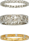 Estate Jewelry:Rings, Diamond, Platinum, Gold Eternity Bands, Cathy Waterman. ... (Total: 3 Items)