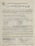 Music Memorabilia:Documents, Big Brother and the Holding Company - Peter Albin Signed ConcertContract, Wesleyan University Dining Hall, Middletown, March ...