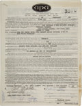 Music Memorabilia:Documents, Big Brother and the Holding Company - Peter Albin and Bill GrahamSigned Concert Contract, Village Theater New York (Fillmore ...