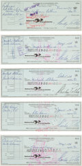 Music Memorabilia:Autographs and Signed Items, Badfinger Group of Member-Signed Checks (1972/74)....