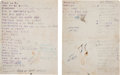 Music Memorabilia:Memorabilia, Janis Joplin - Handwritten Big Brother and the Holding CompanyRehearsal Song List Written in Her Own Hand (1967)....