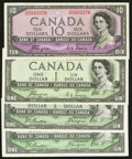 Canadian Currency: , BC-29a $1 1954 Devil's Face. BC-29b $1 1954 Devil's Face, Two Examples. BC-32a $10 1954 Devil's Face. ... (Total: 4 notes)