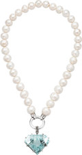 Estate Jewelry:Necklaces, Aquamarine, Cultured Freshwater Pearl, White Gold, Silver Necklace. ...