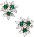 Estate Jewelry:Earrings, Diamond, Emerald, Platinum Earrings, Tiffany & Co.. ...