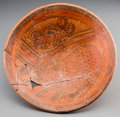 Pre-Columbian:Ceramics, Large Maya Painted Plate with Jaguar...