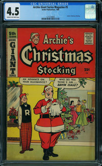 Archie Giant Series Magazine 5 Archie's Christmas Stocking (Archie, 1958) CGC VG+ 4.5 CREAM TO OFF-WHITE pages