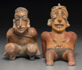 Pre-Columbian:Ceramics, Two Jalisco Figures. c. 200 BC - 200 AD... (Total: 2 Items)