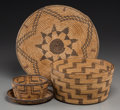 American Indian Art:Baskets, Three Southwest Coiled Basketry Items. c. 1920... (Total: 3 Items)