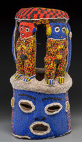 Tribal Art, Bamileke People, Cameroon Grasslands: Beaded Helmet Mask...