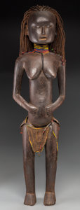 Tribal Art, Nyamwesi People, Tanzania: Rare, Large Standing Female Figure...