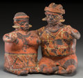 Ceramics & Porcelain:Pre-Columbian, A Nayarit Joined Couple. c. 200 BC - 200 AD. ...