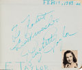 Movie/TV Memorabilia:Autographs and Signed Items, An Elizabeth Taylor, Marlene Dietrich, Peter Lorre, Ronald Reaganand Many Others Signed Autograph Book, 1949....