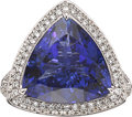 Estate Jewelry:Rings, Tanzanite, Diamond, White Gold Pendant-Ring. ...