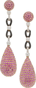 Estate Jewelry:Earrings, Colored Diamond, Diamond, Pink Sapphire, Gold Earrings, Eli Frei .... (Total: 2 Items)