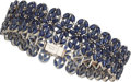 Estate Jewelry:Bracelets, Sapphire, White Gold Bracelet . ...