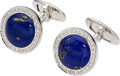 Estate Jewelry:Cufflinks, Lapis Lazuli, Diamond, White Gold Cuff Links, Assil. ...