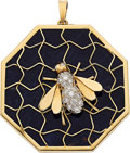 Estate Jewelry:Pendants and Lockets, Sodalite, Diamond, Gold, White Gold Pendant. ...