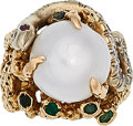 Estate Jewelry:Rings, South Sea Cultured Pearl, Diamond, Emerald, Ruby, Gold Ring. ...
