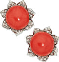 Estate Jewelry:Earrings, Coral, Diamond, Platinum, Gold Earrings. ...