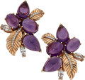 Estate Jewelry:Earrings, Amethyst, Sapphire, Diamond, Rose Gold Earrings. ...