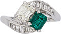 Estate Jewelry:Rings, Diamond, Emerald, Platinum Ring . ...