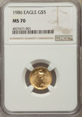 Modern Bullion Coins, 1986 $5 Tenth-Ounce Gold Eagle MS70 NGC. NGC Census: (879). PCGS Population: (63). ...