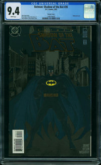 Batman: Shadow of the Bat 35 Variant Embossed Cover (DC, 1995) CGC NM 9.4 WHITE pages