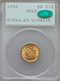 Liberty Quarter Eagles, 1902 $2 1/2 MS63 PCGS.CAC. PCGS Population: (955/1405). NGC Census: (750/1260). CDN: $380 Whsle. Bid for problem-free NGC/P...