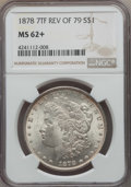 Morgan Dollars, 1878 7TF $1 Reverse of 1879 MS62+ NGC. NGC Census: (1188/3060 and 6/51+). PCGS Population: (1380/4215 and 16/136+). Mintag...