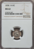 Seated Half Dimes, 1858 H10C MS62 NGC. NGC Census: (68/484). PCGS Population: (55/406). Mintage 3,500,000....