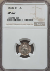 1858 H10C MS62 NGC. NGC Census: (68/484). PCGS Population: (55/406). Mintage 3,500,000....(PCGS# 4367)