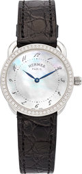 Estate Jewelry:Watches, Hermes Lady's Diamond, Mother-of-Pearl, Stainless Steel Arceau TPMWatch. ...