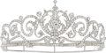 Estate Jewelry:Other, Diamond, White Metal Tiara. ...