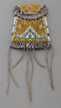 American Indian Art:Beadwork and Quillwork, A Yakima Pictorial Loom-Beaded Hide Flint Pouch. c. 1910...