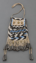 American Indian Art:Beadwork and Quillwork, An Apache Beaded Hide Pouch . c. 1885...