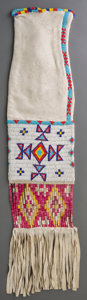 American Indian Art:Beadwork and Quillwork, A Sioux Beaded Hide Tobacco Bag. c. 1920...